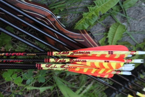 This has got to be the most bling-bling, deadly setup that I've ever shot: Wolverine FXT built by South Cox of Stalker Stickbows, GrizzlyStik Momentum EFOC's from Alaska Bowhunting Supply and the classy-sick and twisted custom arrow wraps by MR. Tim Endsley from Bad Medicine Archery. Now it's just shoot, shoot, train, shoot and train until September gets here!
